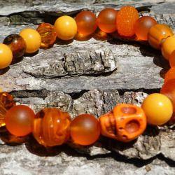 Orange Skull Braclet / Ombre Orange Stretch Bracelet / Glass Bead Jewelry / Stone Skull Bracelet / Dia De Los Muertos Bracelet /
