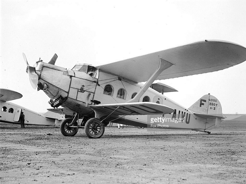A Breguet passenger aircraft of the Paris-to-Marseilles service lines up on the runway at Le Bourget Airport, Paris.
