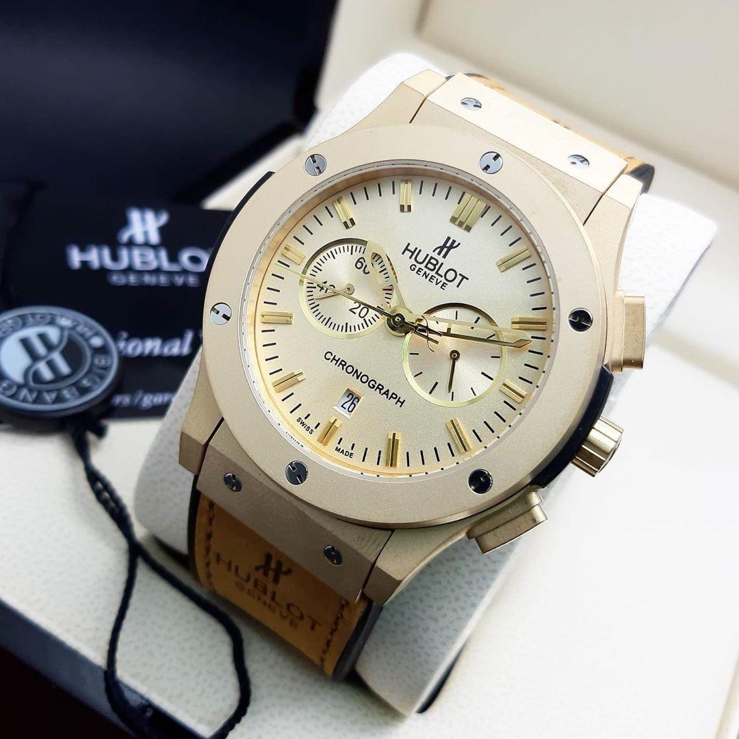 Brand Name Hublot Price 50kd المحتويات العلبه الاصليه الكيس الاصلي دفتر الوكيل يوجد كفالة ساعه Hublot Gold Watch Chronograph