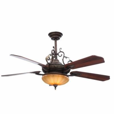 Hampton Bay Chateau De Ville 52 In Indoor Walnut Ceiling Fan With Light Kit And Remote Control 34012 The Home Depot Ceiling Fan With Light Ceiling Fan Bronze Ceiling Fan