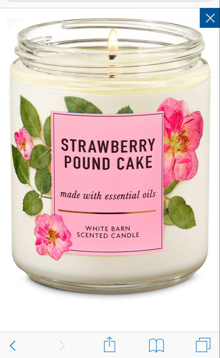 شمعة من باث اند بودي وركس بالفراولة Pound Cake With Strawberries Candles Spring Candles