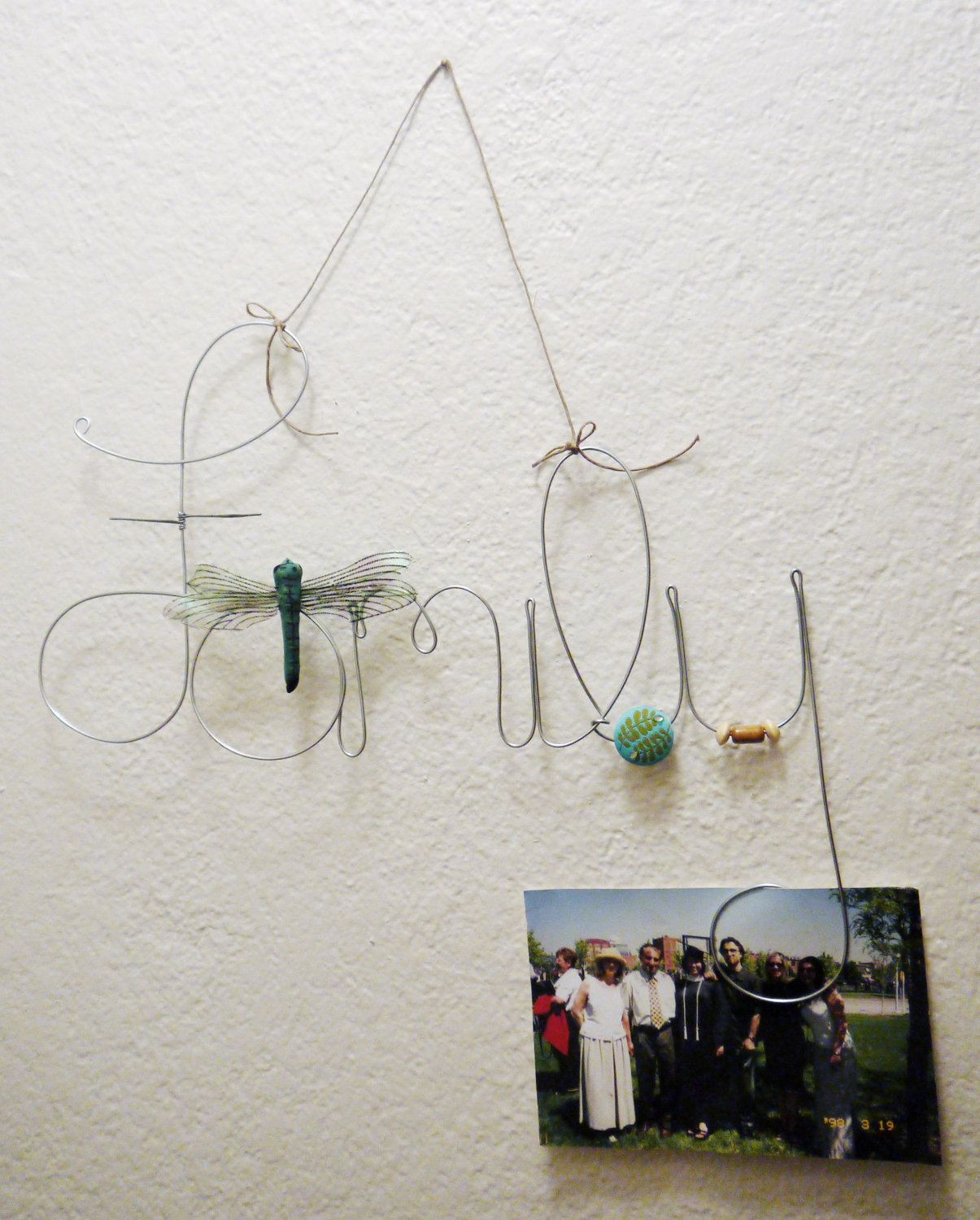 Hanging Family Wire Word Photo Holder, Picture Frame with Dragonfly ...