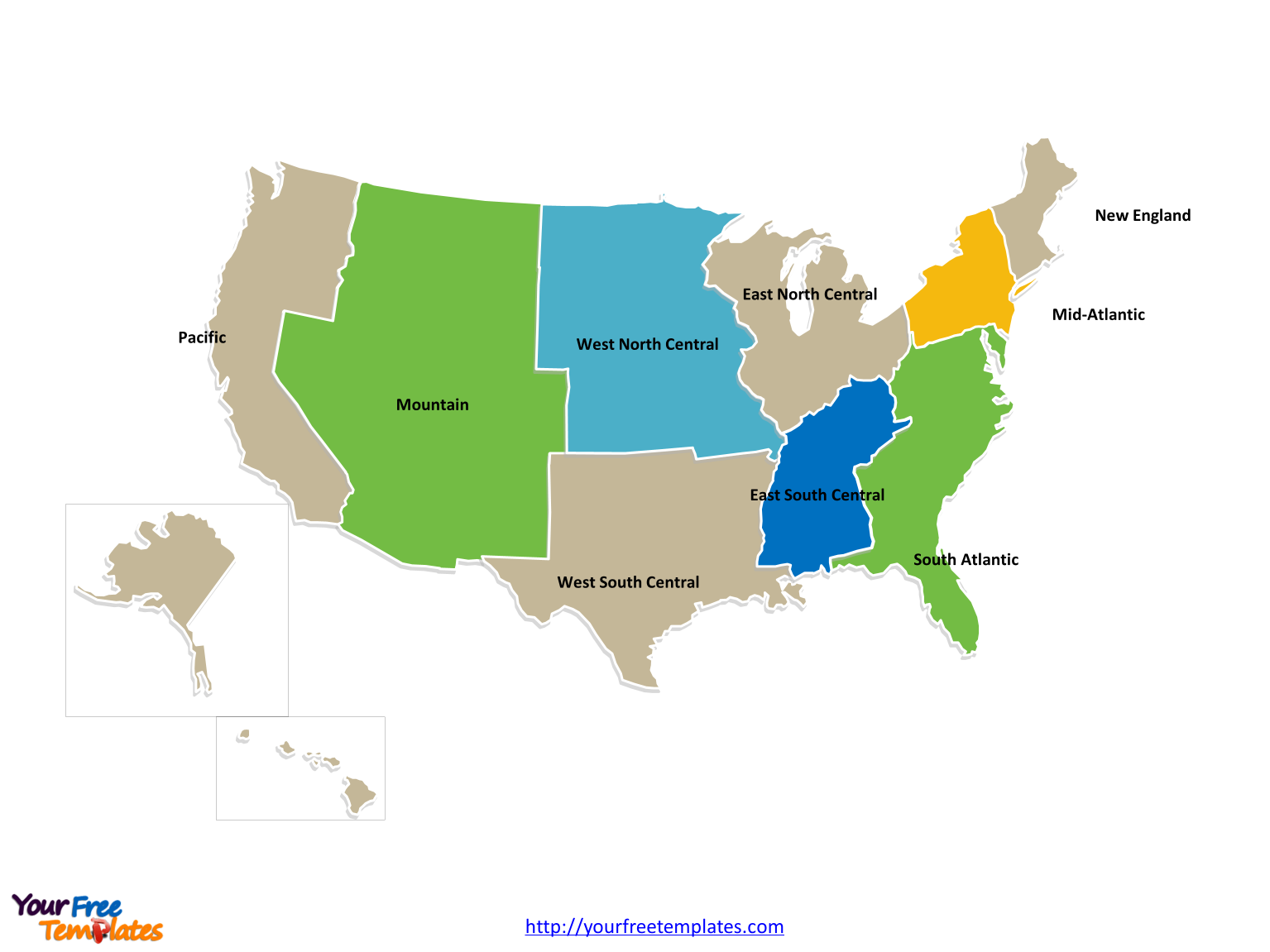 Immediately free download editable united states of america census immediately free download editable united states of america census region and census division map in powerpoint gumiabroncs Gallery