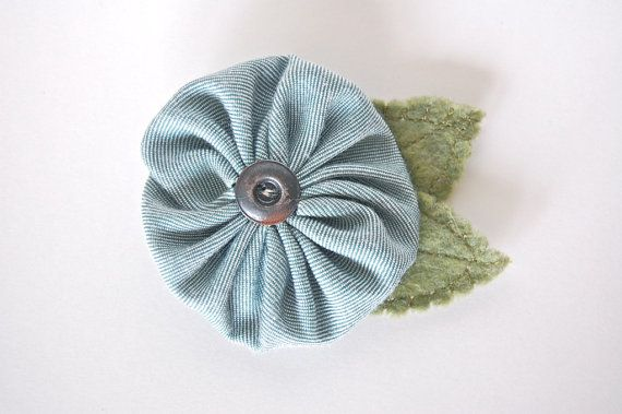 Handmade Yo Yo Flower Pin  Turquoise Fabric by DarlingDaisyShop, $6.00