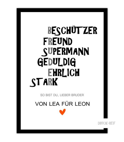 Kunstdruck Bruder Kunstdruck Poster Art Geschenk Von Word Art