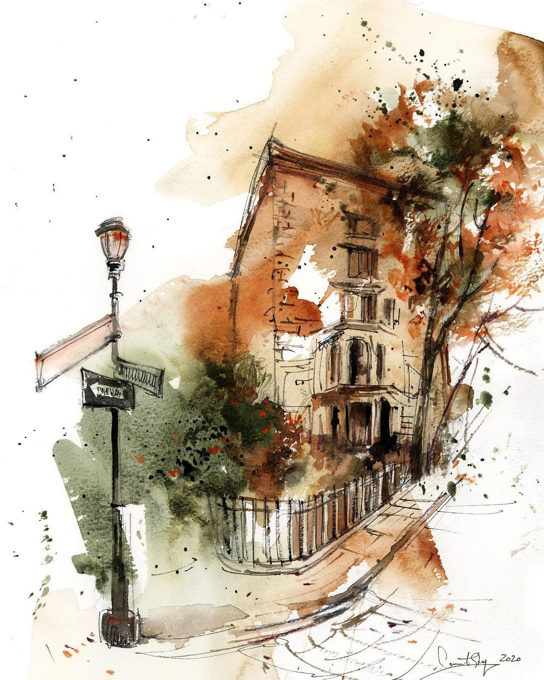 "Sophie Artist on Instagram: ""Fall colors My new love - architecture sketches #danielsmithwatercolors #canotstoppainting #canotstop_prints #aquarellepainting…"""