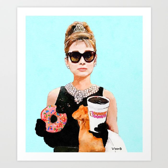 Breakfast at Dunkin Donuts - Audrey Hepburn Art Print by ellevoong ...
