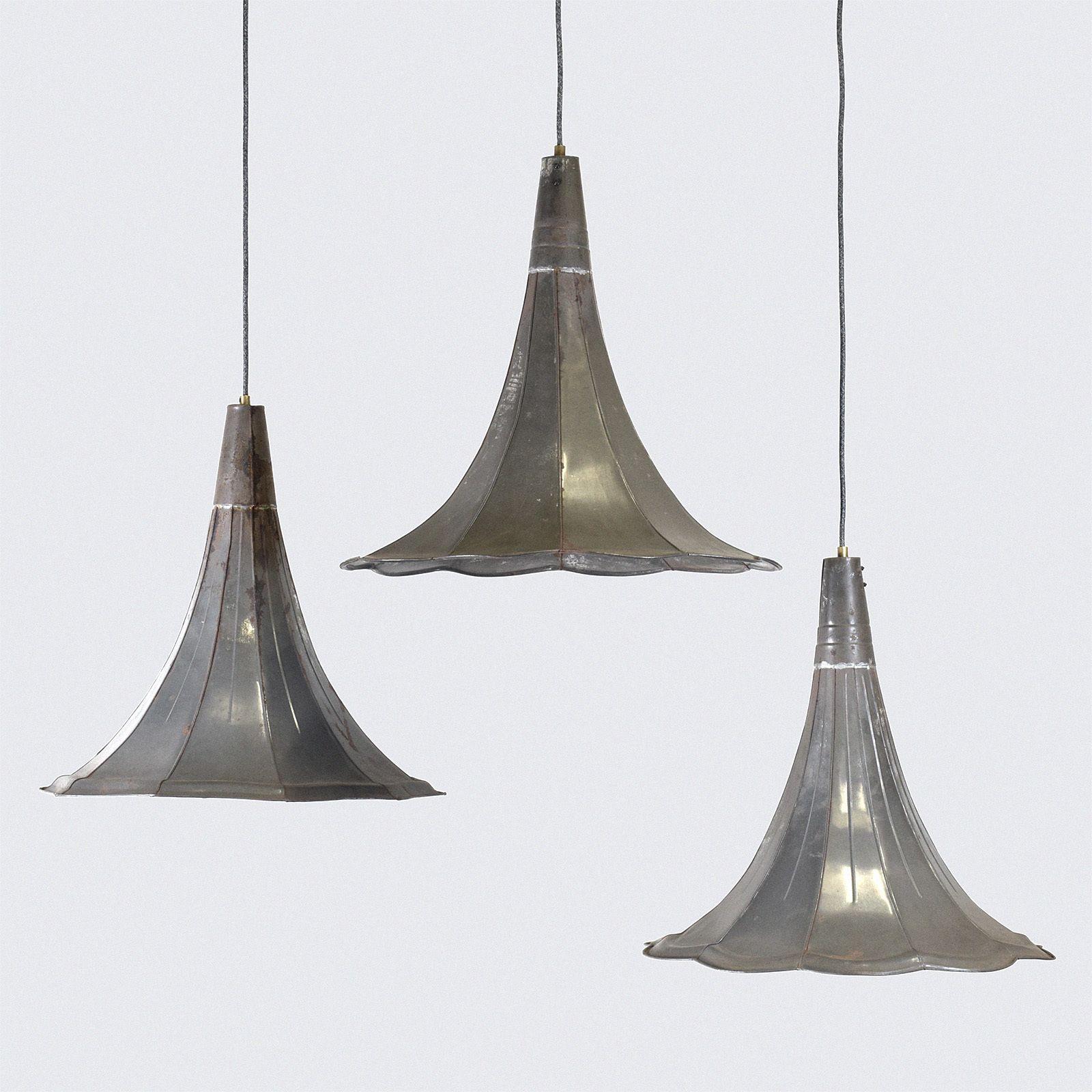 Set of vintage gramophone phonograph horn pendant light lamps