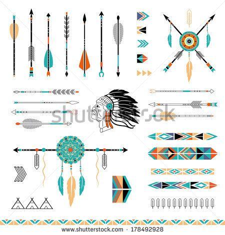 Arrows, Indian elements, Aztec borders and embellishments by Lera Efremova, via Shutterstock