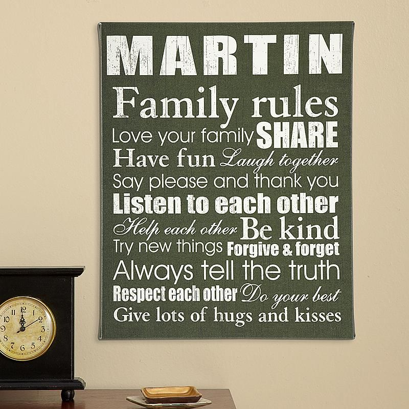 Family Rules Canvas & Family Rules Canvas | Family rules Canvases and Gift