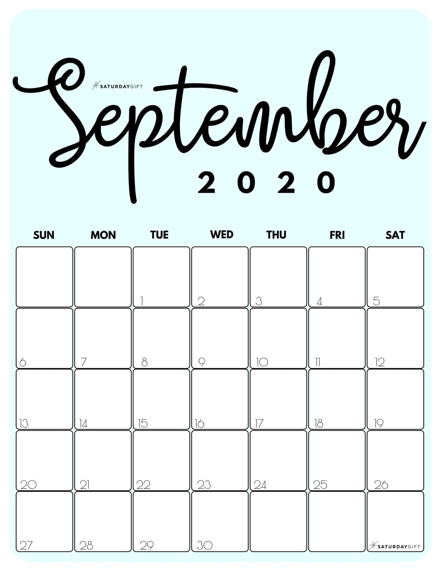 Cute Free Printable September 2021 Calendar Saturdaygift September Calendar Free Calendar Template Calendar Printables