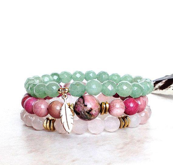 Bracelet Quartz rose et Rhodonite