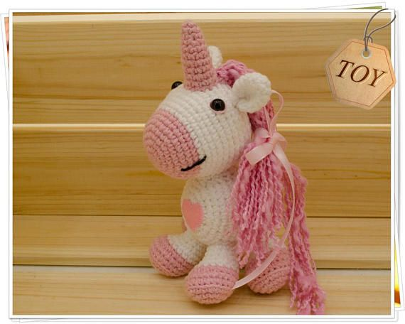 Amigurumi Unicorn : Crochet unicorn toy amigurumi unicorn pink heart unicorn