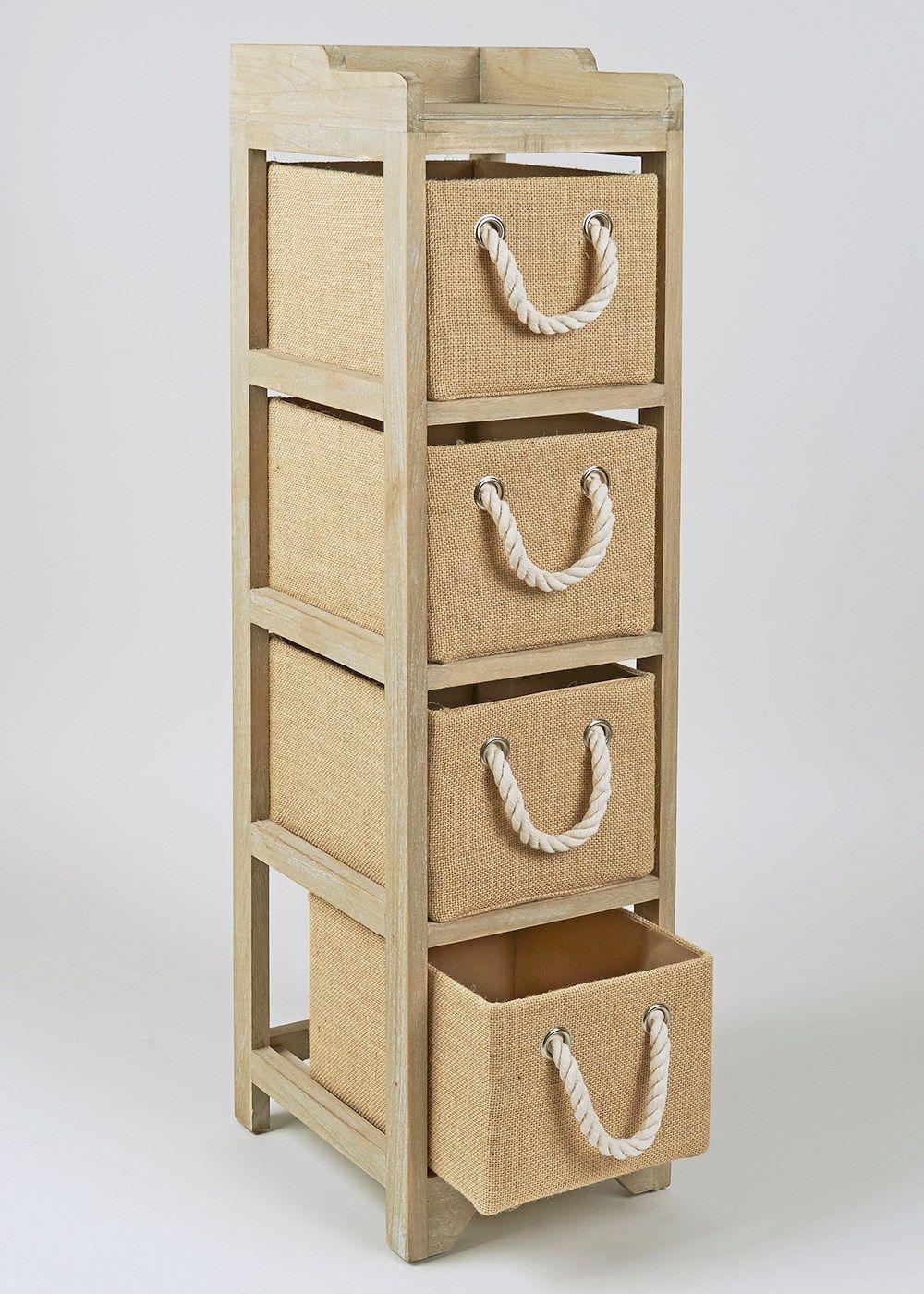 4 Drawer Wooden Tower Unit (24cm X 28.7cm X 95.5cm)