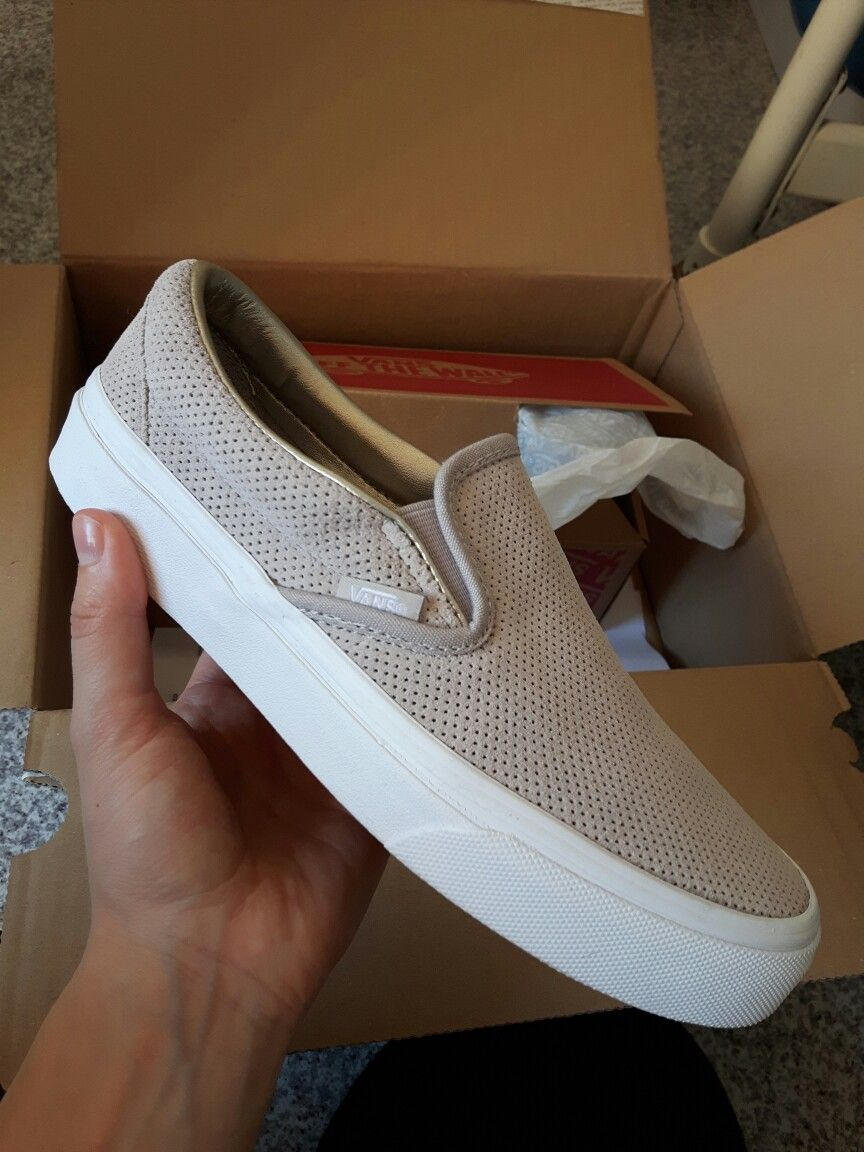 Vans Perf Suede Slip On Silver Cloud   True White a81f23d0b