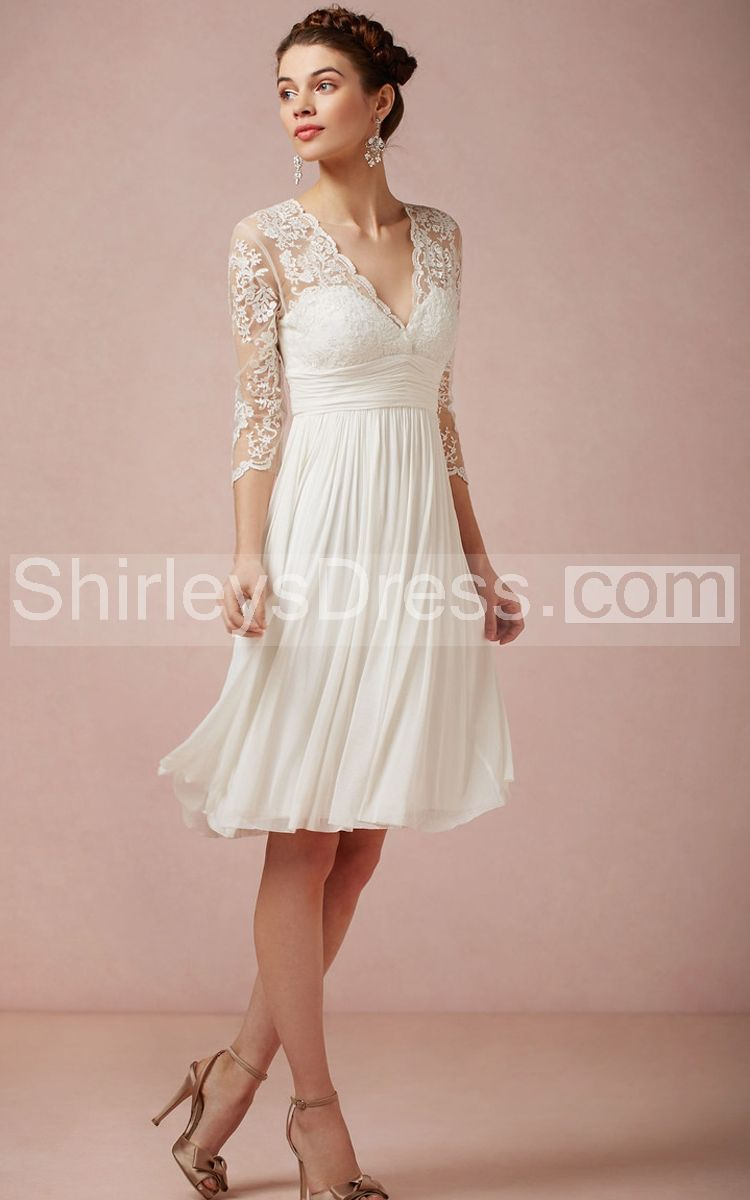Charming V-Neck Knee Length Chiffon Dress With 3/4 Illusion Sleeve ...