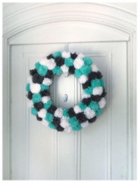 Photo of Modern wreath, pom pom wreath, inner wreath, yarn wreath, gray wreath, blue wreath