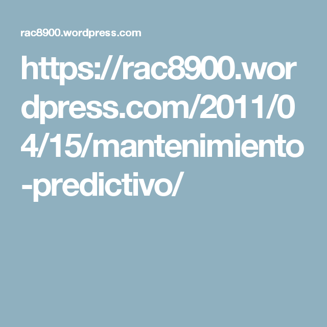 Mantenimiento Predictivo | Wordpress