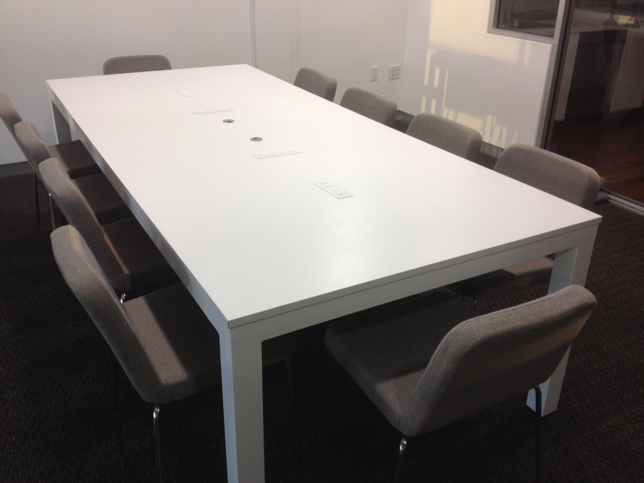 El Segundo CA Conference Table With White Powder Coated Steel And - White laminate conference table