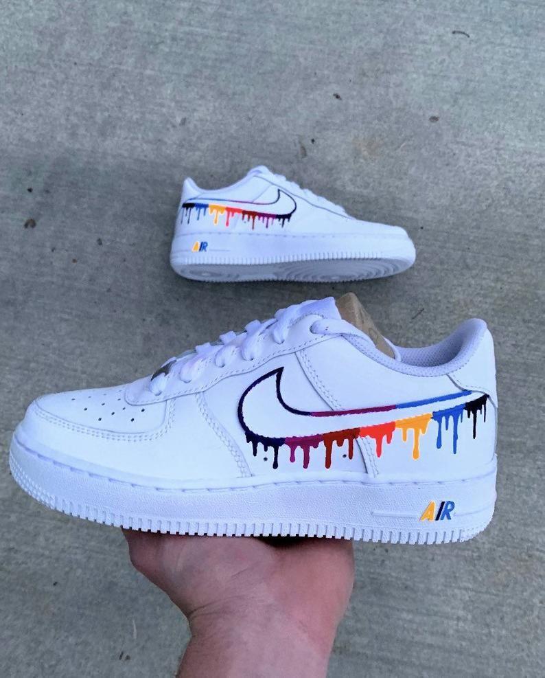 Nike air force 1 paint drip custom shoes