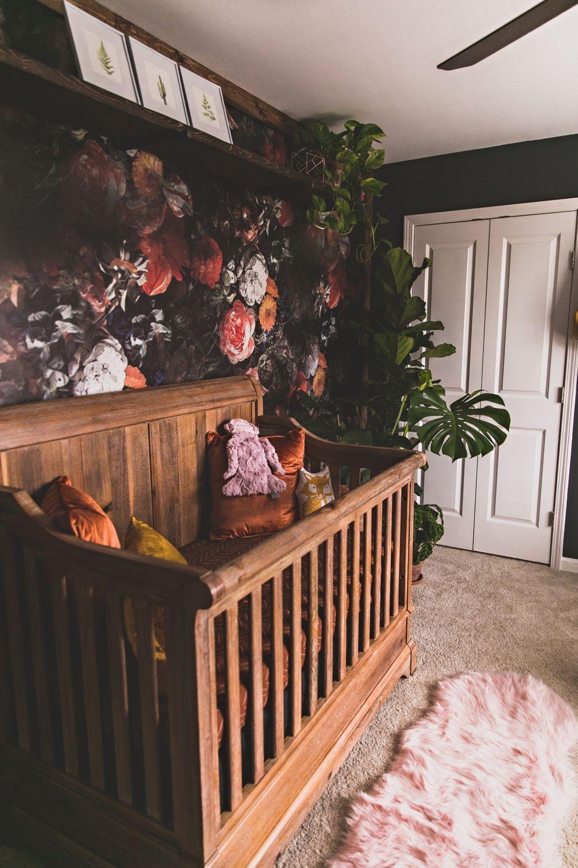 Baby Girl S Bold Floral Boho Nursery Vaughan House Com Nursery Baby Room Brown Crib Boho Nursery