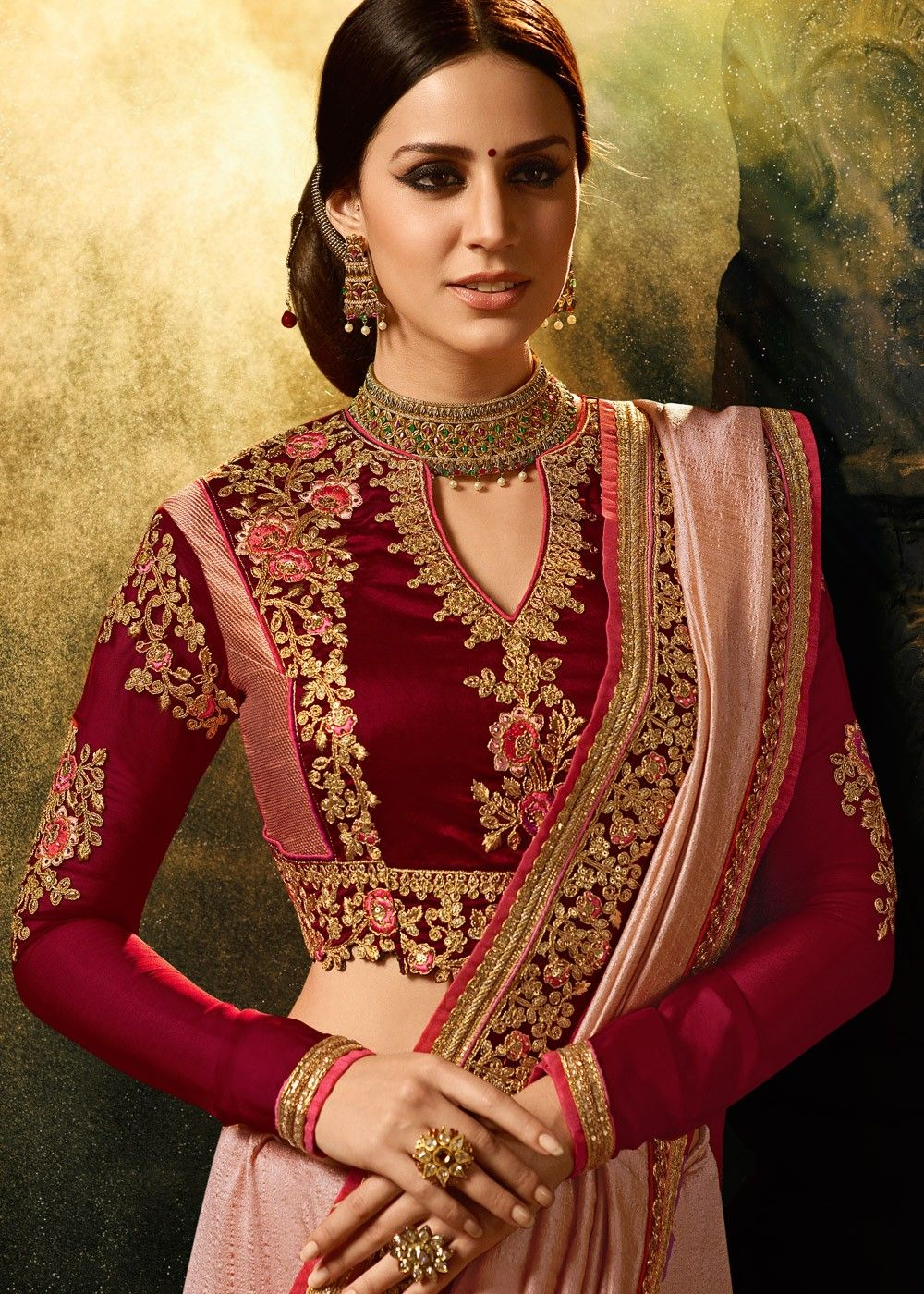 d9bf14229dfe72 Light #pink art #silk #saree enhanced by embroidered lace border  throughout. Accompanied by a maroon art silk #blouse embellished with  #resham #embroidery ...