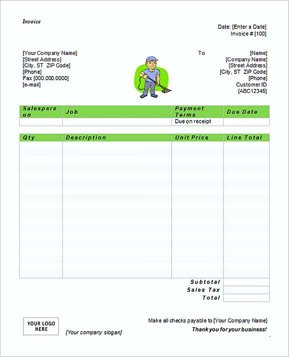 Simple Free Microsoft Cleaning Service Invoice Templates Word - Word invoice template for service business