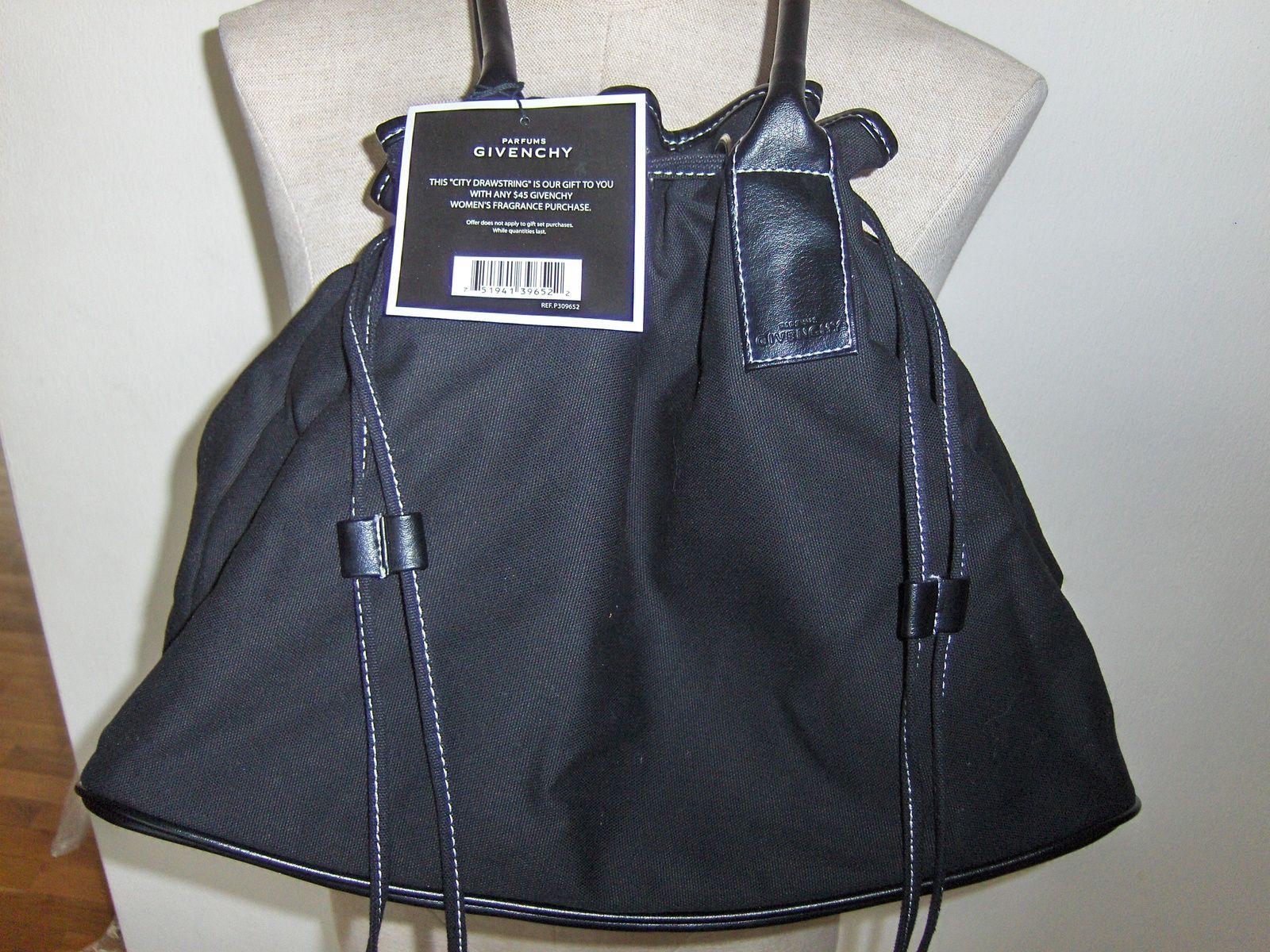7d39daaf1c52 Givenchy Parfums City Drawstring Black Purse Handbag Tote Bag Shopper Travel