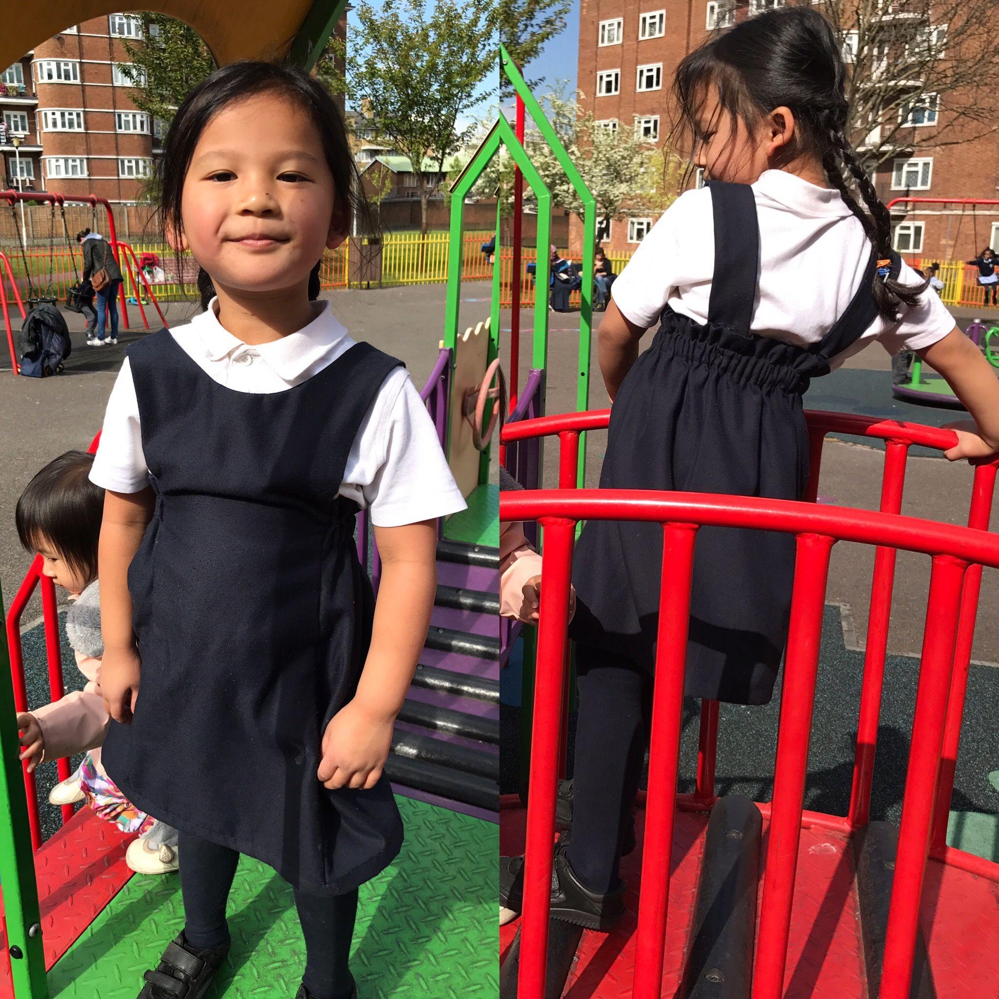 Pembridge Pinafore for Bo's school uniform #pdf patterns #sewingforgirls #llcpembridge #liluxecollection