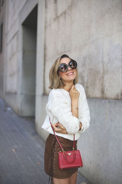 Sweater Tumblr White Skirt Mini Skirt Lace Up Lace Up Skirt Camel Suede Skirt Suede Skirt Bag Red