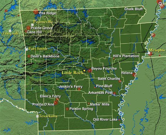 Map of LA and Arkansas c1864 map 24x36