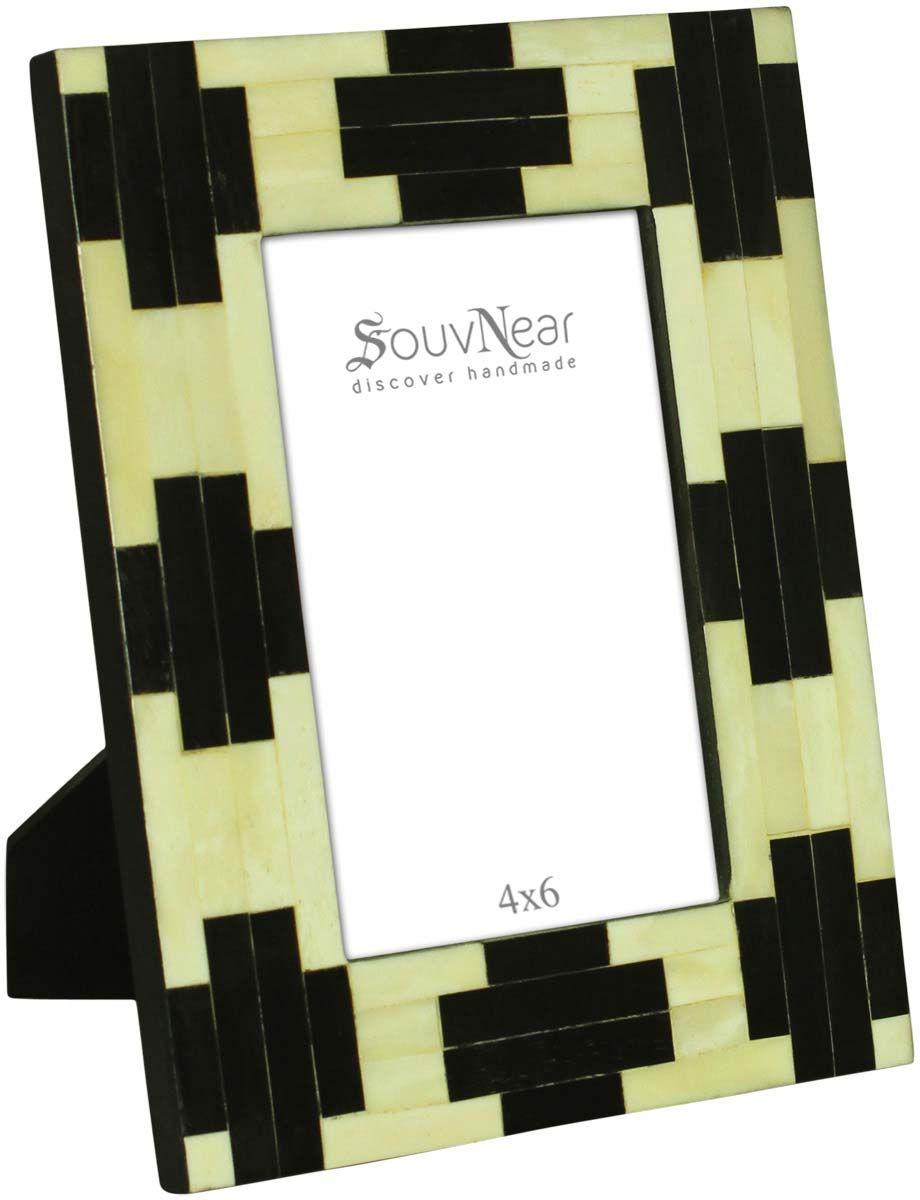Rectangular Photo Frame In Mdf Bone Black Cross Motifs Table Decor Buy In Bulk Who Handmade Photo Frames Wholesale Picture Frames Unique Picture Frames