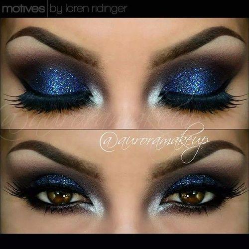Glittery Dark Blue Smokey Eyes Makeup Blue Makeup Smokey Eye Makeup