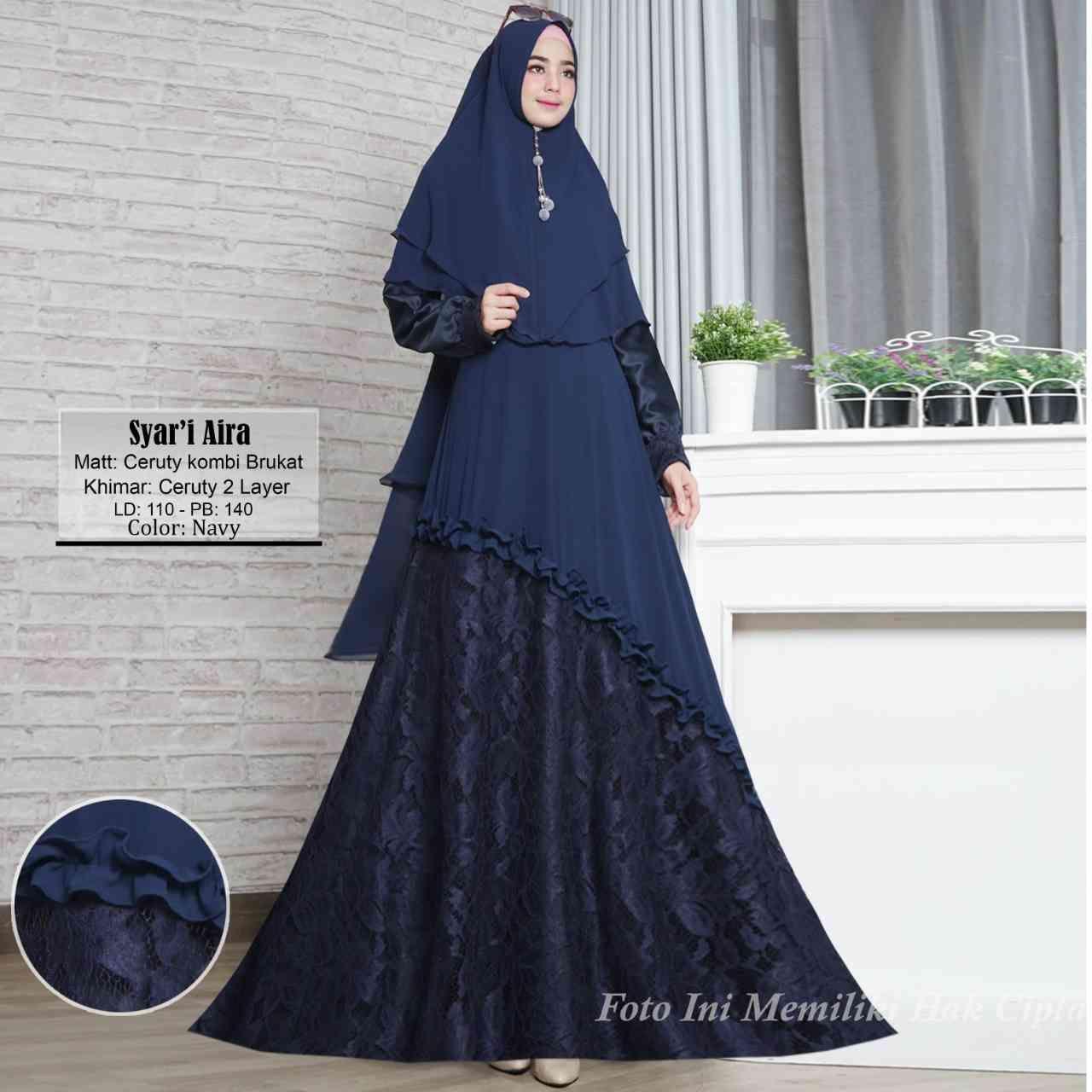 Model Baju Gamis Batik Kombinasi Brokat Terbaru 11 Desain Modern