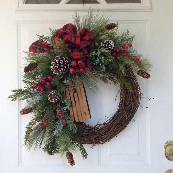 Photo of Holiday Wreath-Winter Wreath-Christmas Wreath-Wooden Sleigh Wreath-Evergreen Wreath-Country Wreath-Woodland Wreath-Wreath for Door