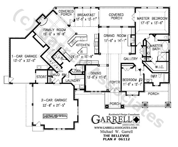House Blueprints | Bellevue House Plan 06112 1st Floor Plan Craftsman Style House