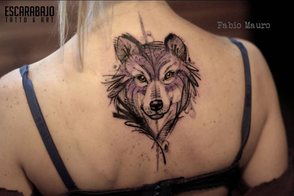 63bb03a2e Sketch work style wolf tattoo on the upper back. Artista Tatuador: Fabio  Mauro #animaltattoosonback
