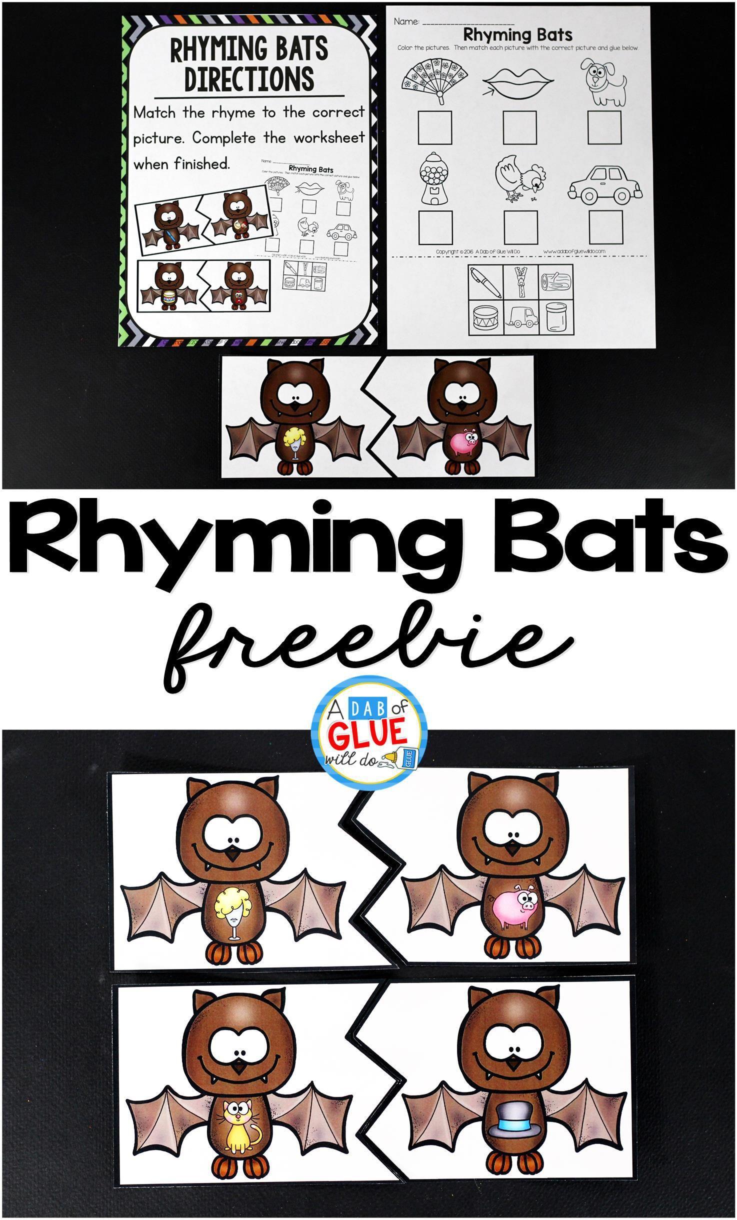 Rhyming Bats Literacy Center Halloween