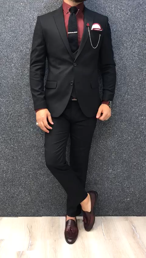 Buy Black Slim Fit Wool Suit by GentWith com with Free Shipping