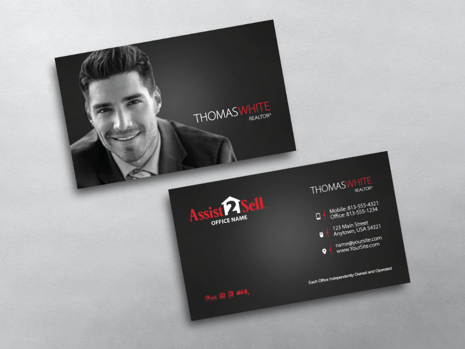 Order assist 2 sell business cards free shipping design real estate business card templates for assist 2 sell agents we design print assist 2 sell business cards online reheart Gallery
