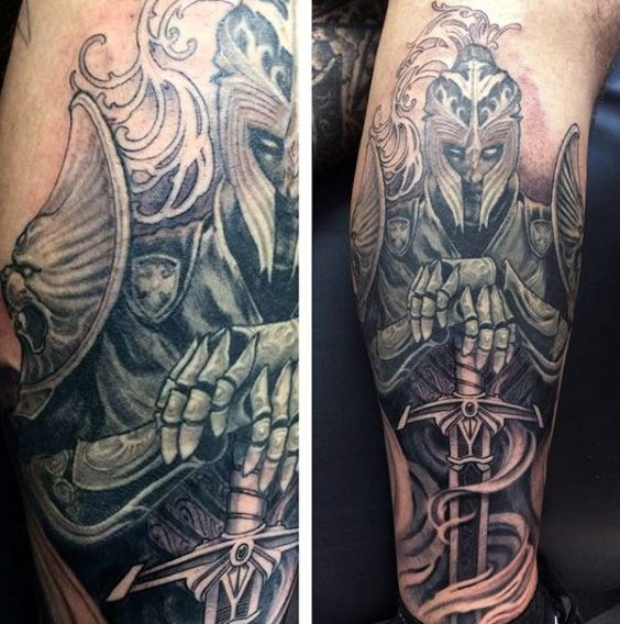73f702d02 Top 80 Best Knight Tattoo Designs For Men - Brave Ideas | Sword ...