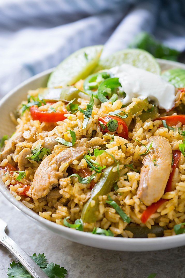 This chicken fajita rice is packed with authentic Mexican flavors. It is super easy, delicious and a filling Mexican fried rice perfect for lunch or dinner. #recipeforchickenfajitas