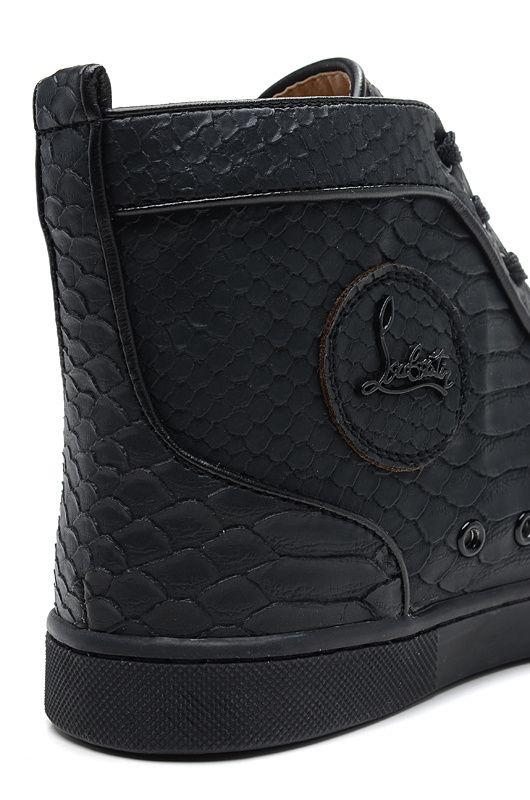 f25faa4c04a0 Christian Louboutin Rantus Flat Python Leather High Top Mens Sneakers Black