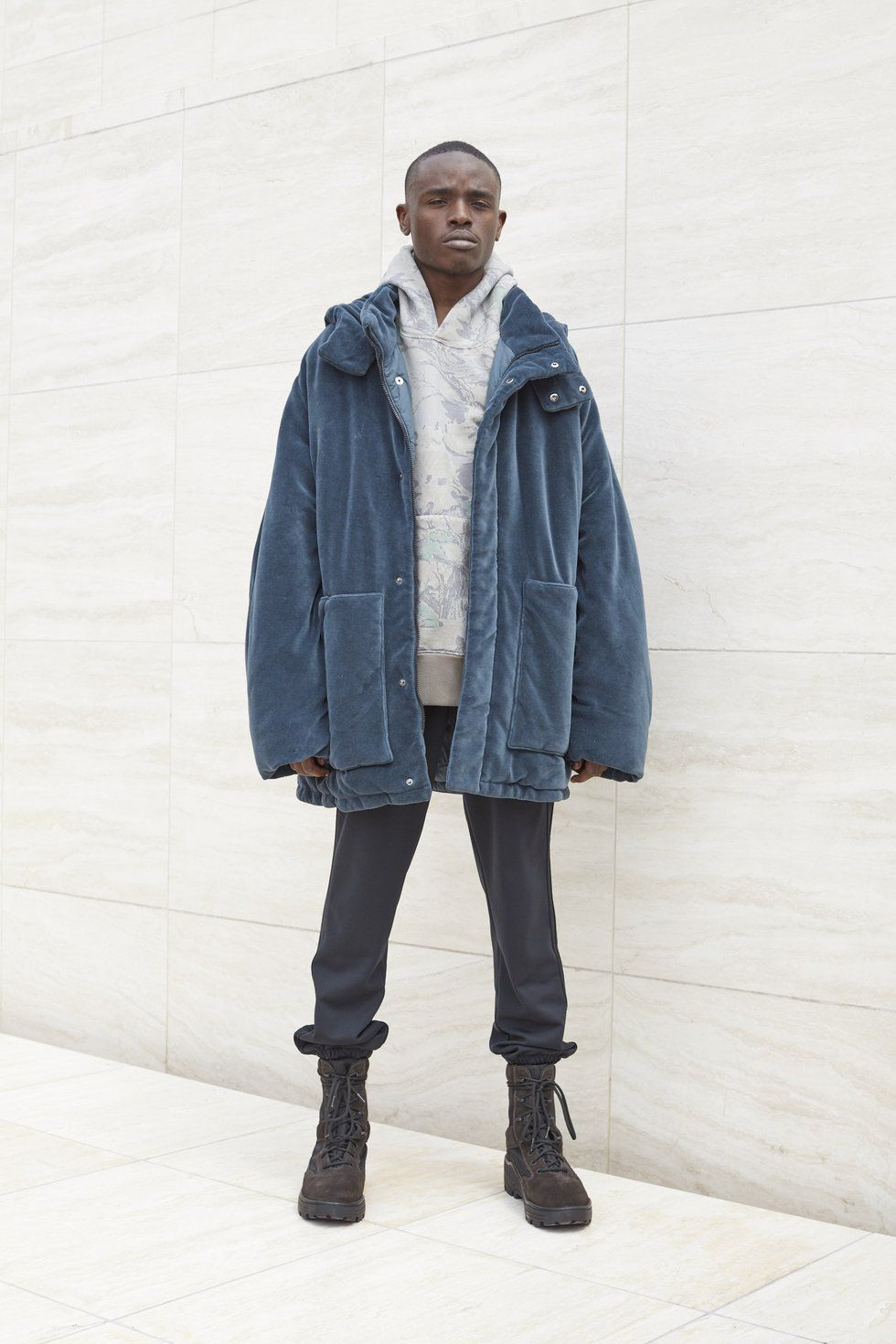 Velour Puffer Jacket Bat Kanye West Outfits Yeezy Fashion Womens Jackets Casual [ 1470 x 980 Pixel ]