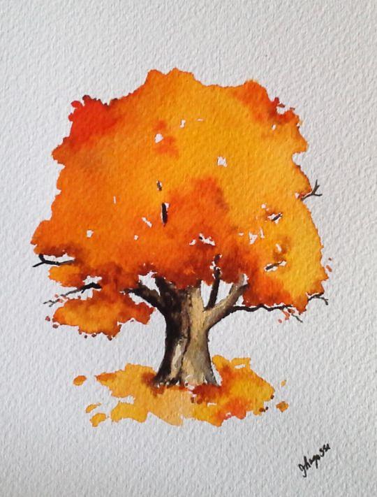 Watercolor Painting Autumn In Maine Tree Arte Em Aquarela