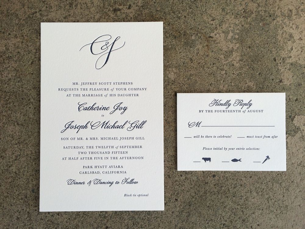 Single Letterpress Invitation Suite Printed By Ladybones Print Shop