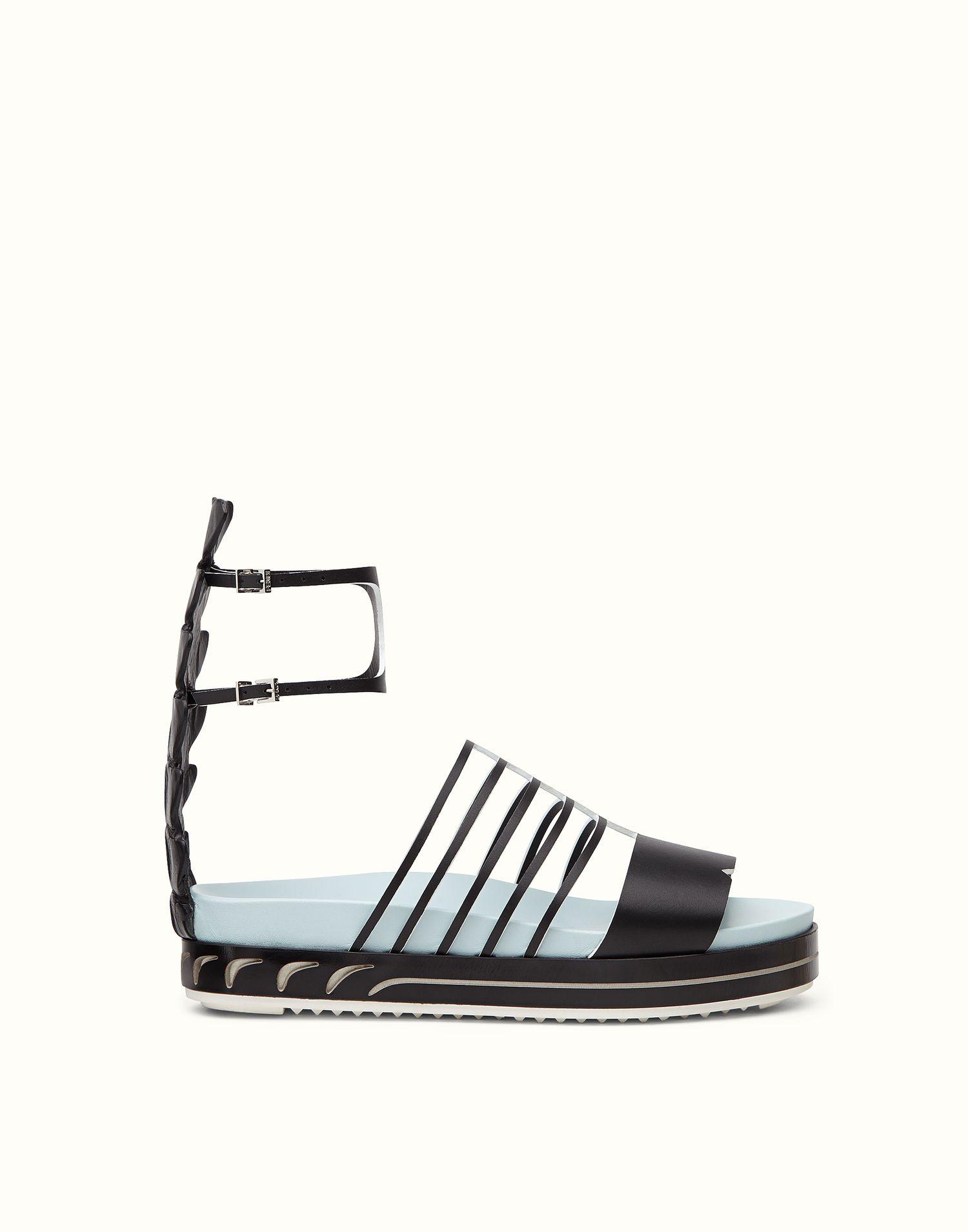 Sandales En Cuir Noir Fendi 5UbfE6v