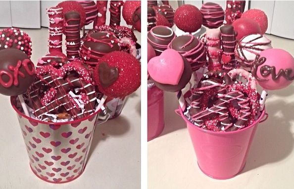 Valentine gift sets. Cakepops and chocolate covered pretzels.