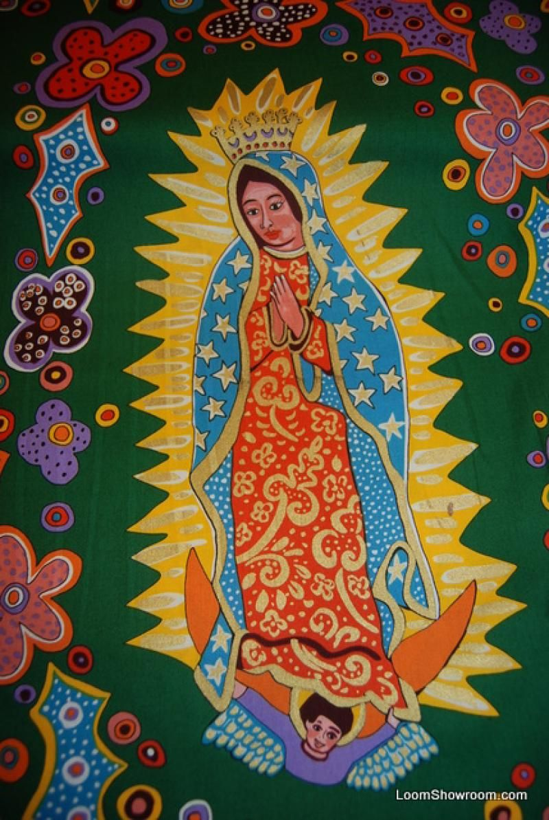 FF70 Dark Green Our Lady of Guadalupe Mexico Manget Mexican ... : religious quilting fabric - Adamdwight.com