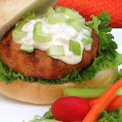 Buffalo Chicken Burgers with Blue Cheese Dressing Allrecipes.com